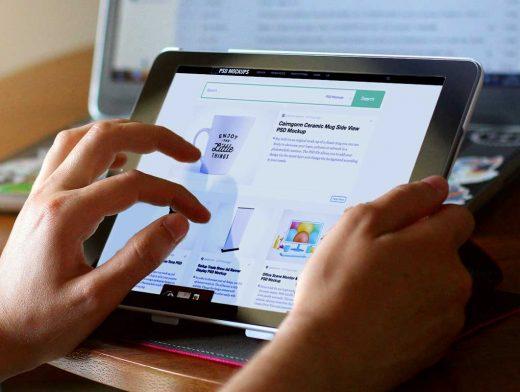 iPad Tablet Web Browsing PSD Mockup