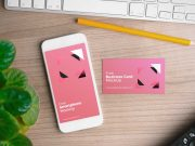 iPhone Smartphone & Business Card In Workspace PSD MockUp