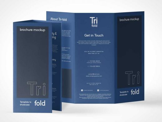 3 Panel Tri-Fold Brochure Front & Back Panels PSD Mockup