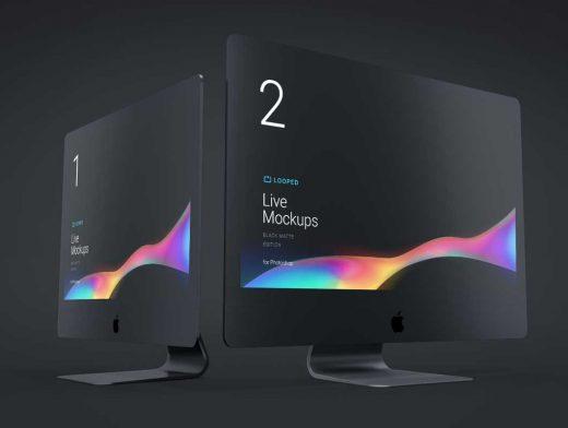 8 Apple Mobile & Desktop Workspace Devices In Jet Black PSD Mockup