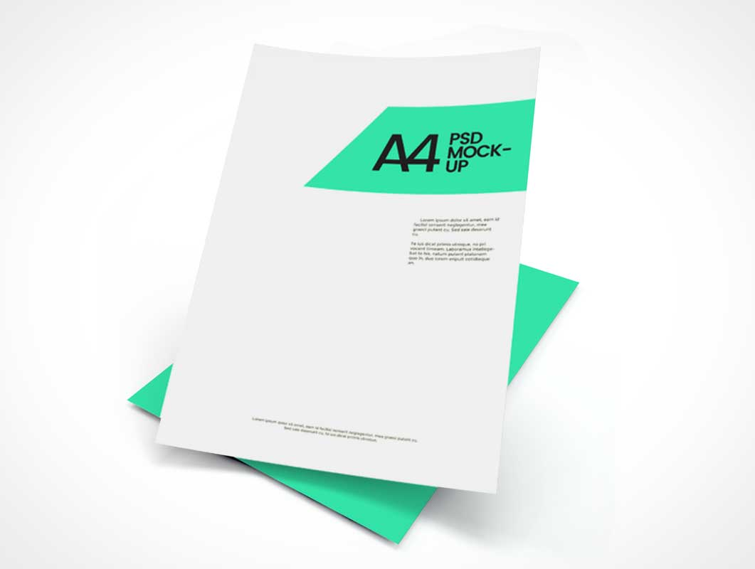 A4 Floating Corporate Letterhead Pair PSD Mockup