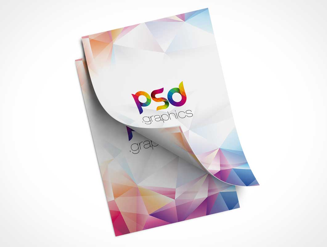 A4 Flyers Front Cover & Page Curl PSD Mockup