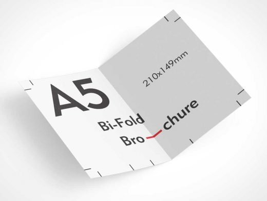 A5 Bi-Fold Brochure Heavy Stock Paper PSD Mockup