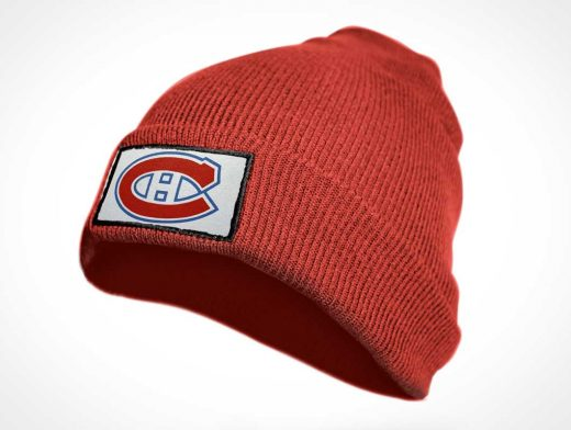 Beanie Hat & Embroidered Sports Team Logo PSD Mockup