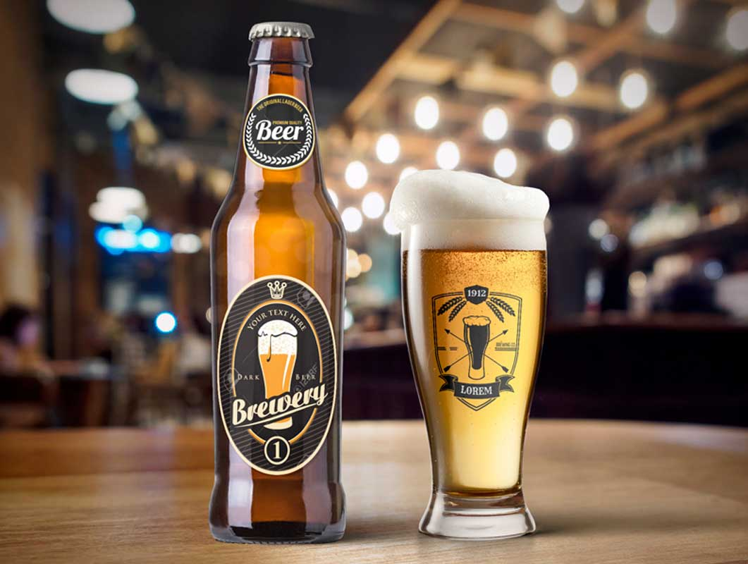 Beer Bottle & Weizen Glass PSD Mockup