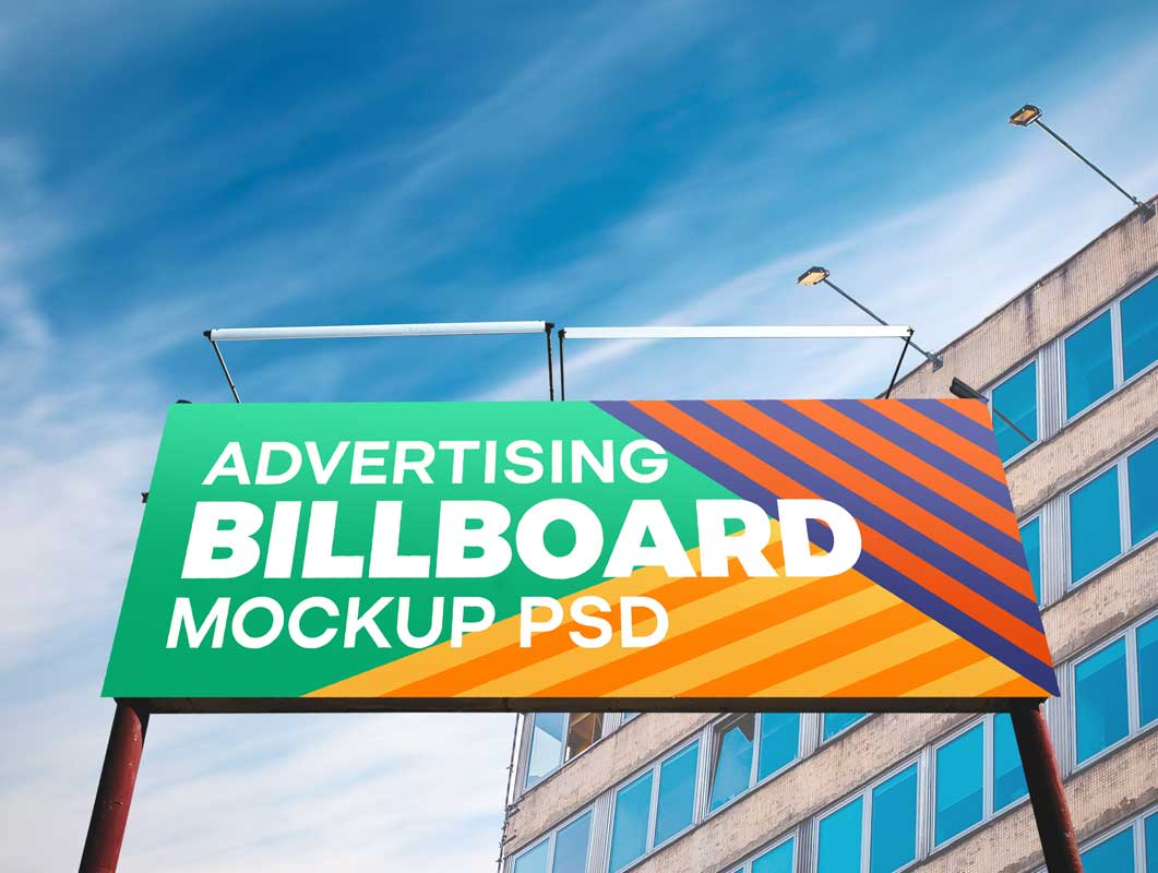 Billboard Outdoor Advertising Landscape Orientation PSD Mockup