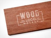 Branding Logo Painted Over Wood Plank PSD Mockup