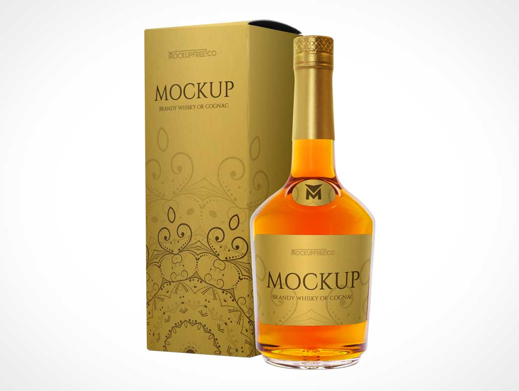 Brandy, Whisky & Cognac Branding Packaging PSD Mockup