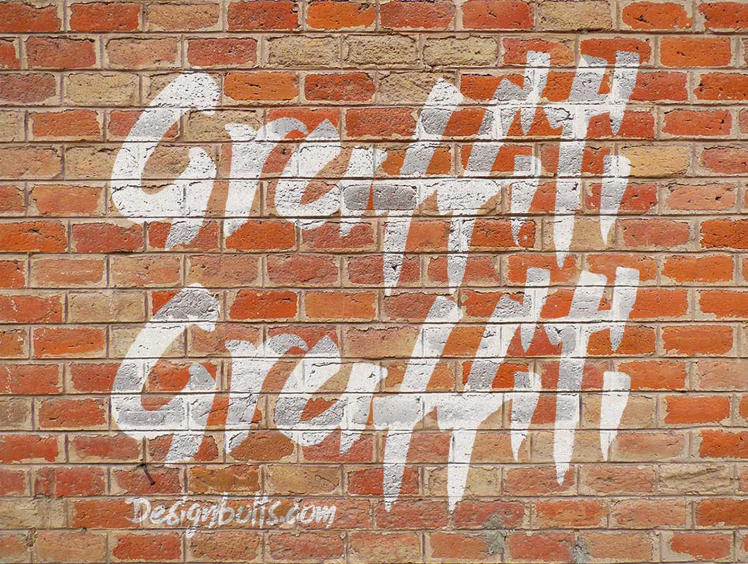 Brick Wall Graffiti Surface PSD Mockup