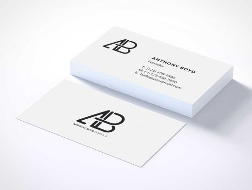 Business Card Stack Pile Front & Back PSD Mockup