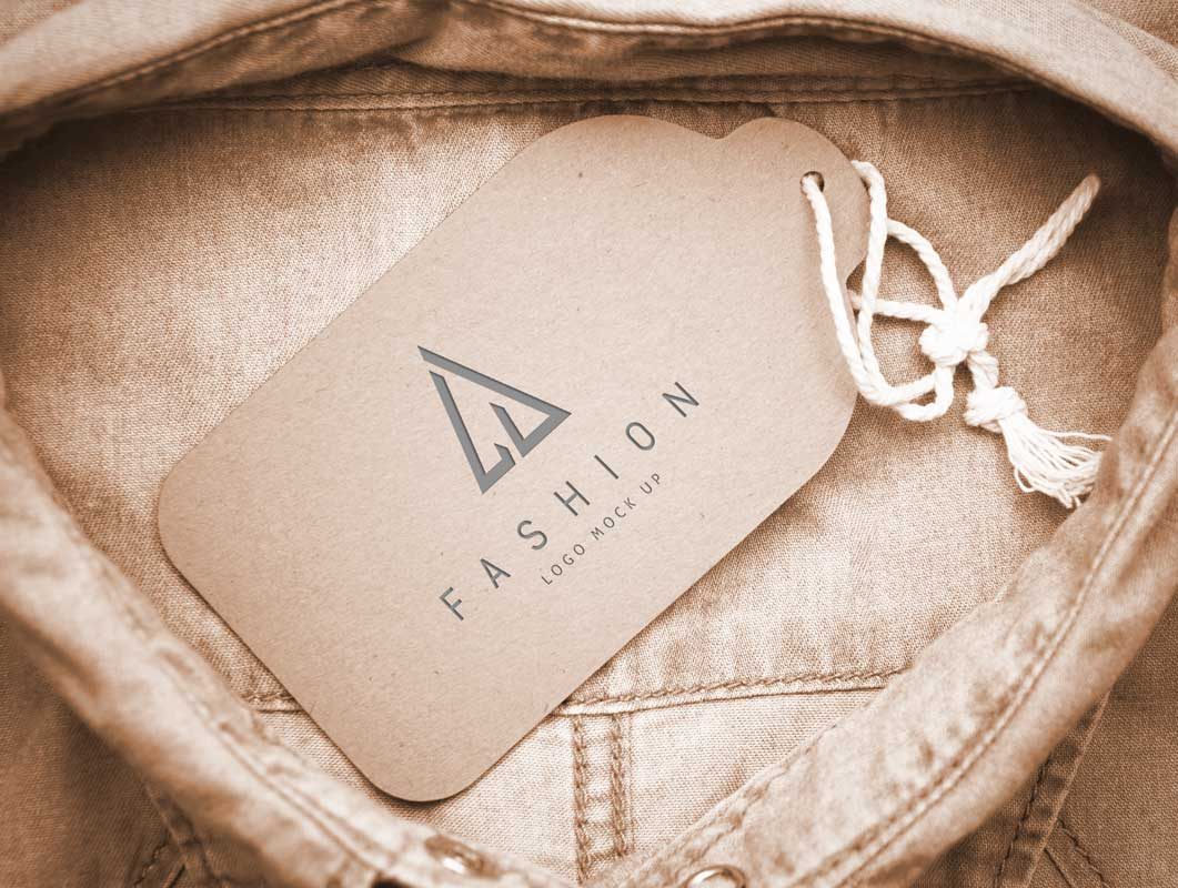 Button Up Shirt Collar Tag PSD Mockup