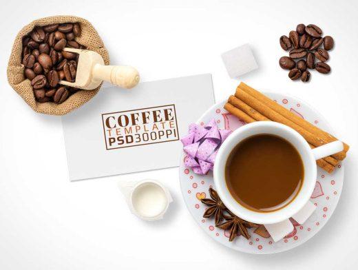 Coffee Cup Top View Mug Shot PSD Mockup