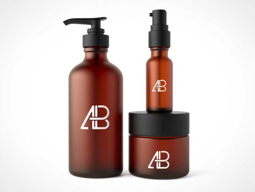 Cosmetic Packaging Includes Lotion Pump, Spray Bottle & Cream Jar PSD Mockup