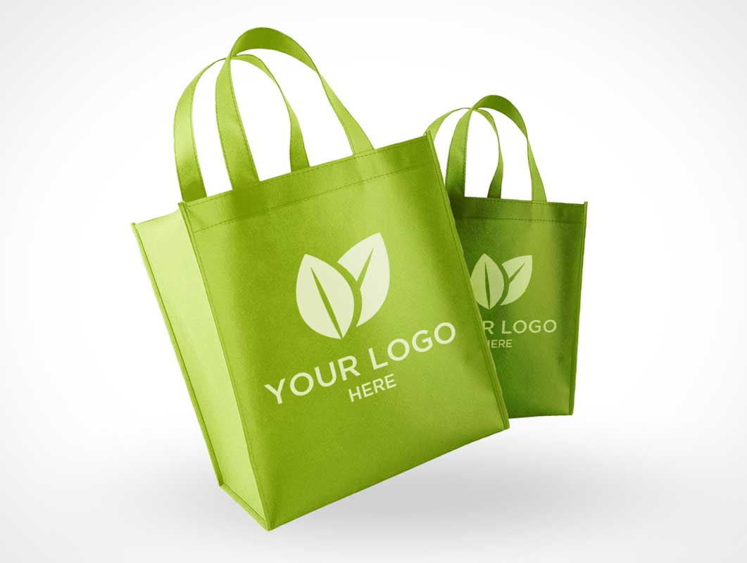 Eco Friendly Reusable Polyester Shopping Bags PSD Mockup