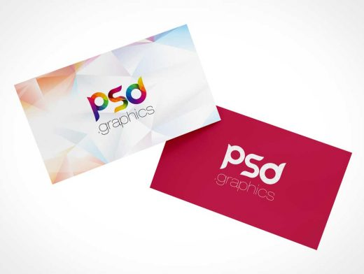 Floating Set Of Business Cards PSD Mockup