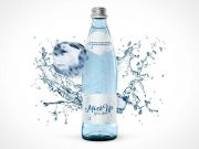 Glass Bottle & Splashing Water Effect PSD Mockup