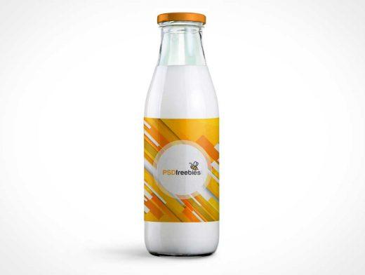 Glass Milk Bottle With Twist Cap PSD Mockup