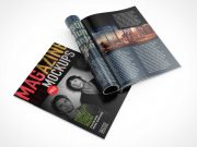 Glossy Magazine Front, Back Covers & Inside Pages PSD Mockup