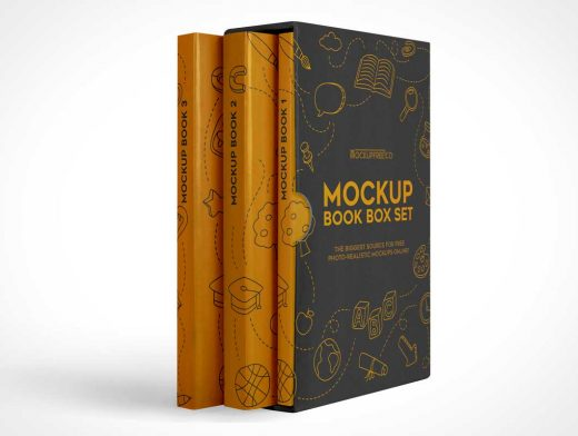 Hardcover 3 Book Box Set PSD Mockup