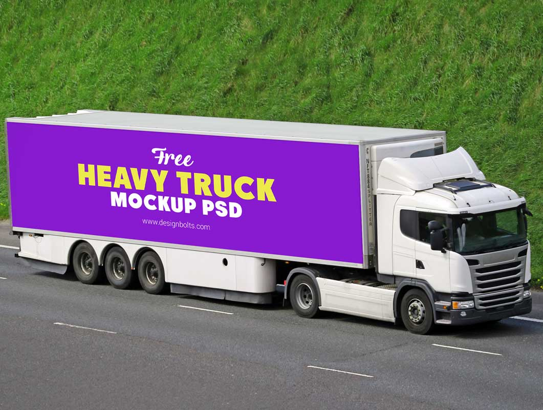 Heavy Load Transport Cargo Truck PSD Mockup
