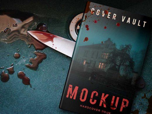 Horror Hardcover Mystery Book PSD Mockup
