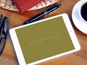 Landscape iPad & Reading Glasses PSD Mockup