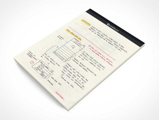 Lined Stationery Note Pad Cover Page PSD Mockup