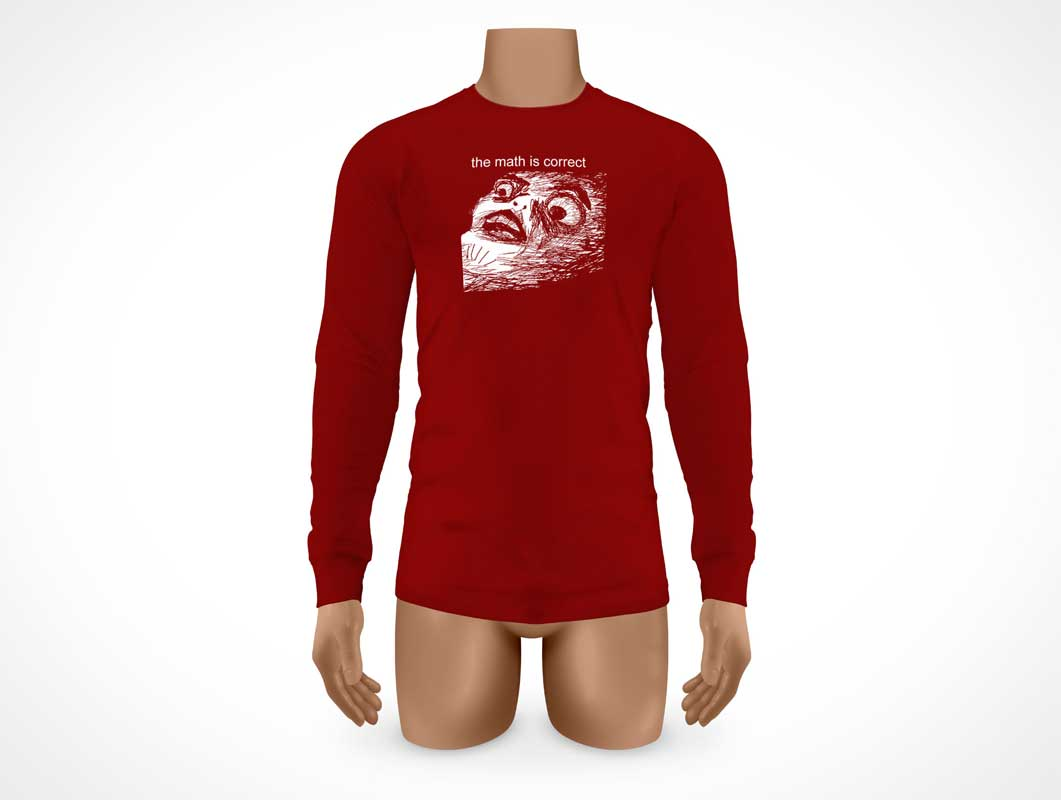 Long Sleeve Cotton Shirt Front PSD Mockup
