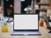 MacBook Front Display Social Evening PSD Mockup