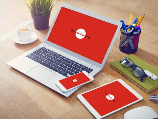 MacBook Laptop, iPad & Smartphone Workspace PSD Mockup