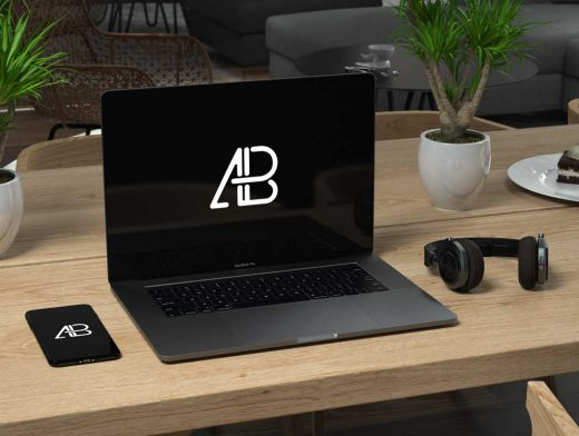 MacBook Pro Dark Grey Workspace PSD Mockup