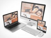 MacBook, iMac, iPad & Mobile Devices Scene PSD mockup