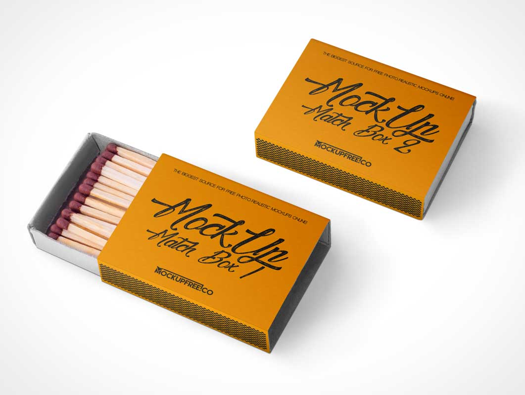 Matchsticks Presented In Matchbox PSD Mockup