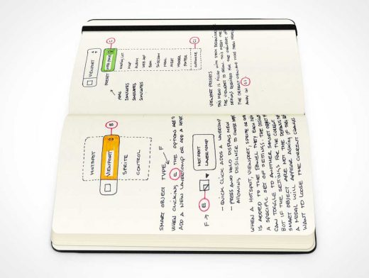 Moleskine Notebook Left & Right Page Side View PSD Mockup
