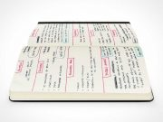 Moleskine Notebook Side View Low Angle Shot PSD Mockup