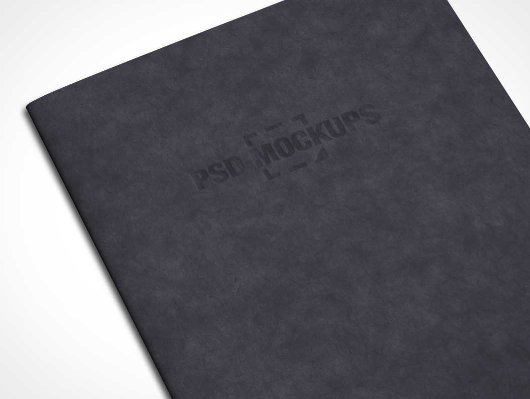Notebook Front Cover With Embossed Lettering PSD Mockup