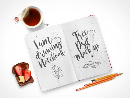 Notebook Inside Left & Right Pages Top Down View PSD Mockup