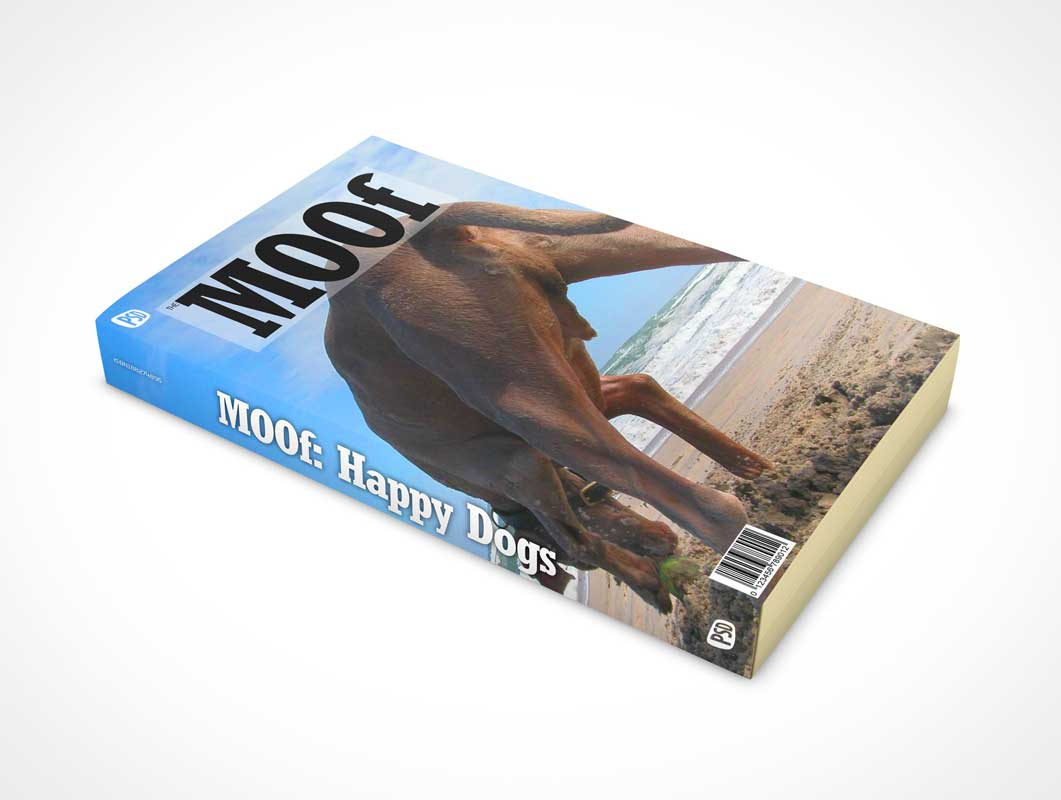 Paperback Book Cover & Spine Product Shot PSD Mockup