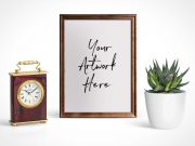 Picture Frame Portrait Mode Photo Under Glass PSD Mockup
