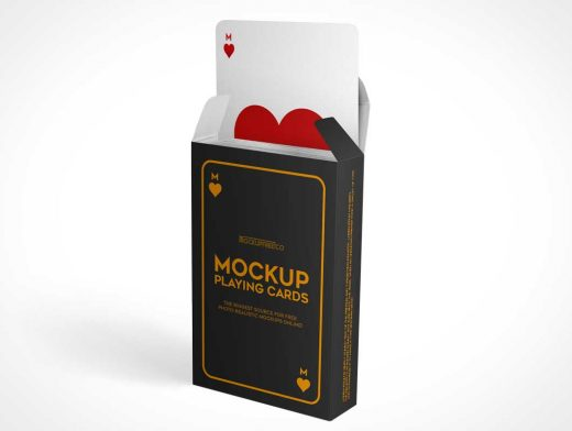 Playing Cards Deck In Standing Box PSD Mockup