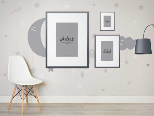 Portrait Framed Wall Showcase Scene PSD Mockup