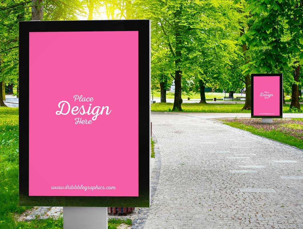 Poster Billboard Advertising Public Park PSD Mockup