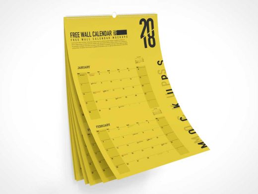 Ring Bound Wall Calendar PSD Mockup