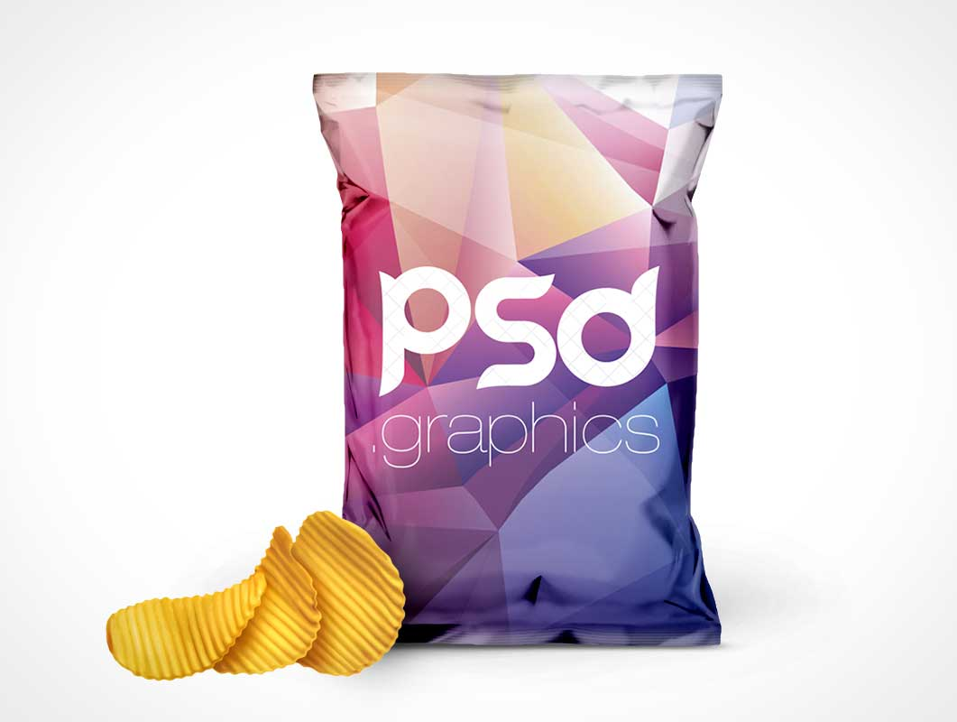 Rippled Chips Bag Front Cover PSD Mockup
