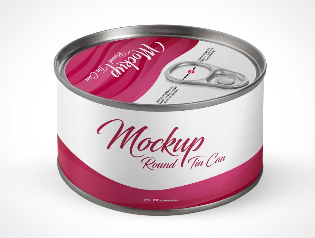 Round Tin Cat Food Can Top & Front Label PSD Mockup