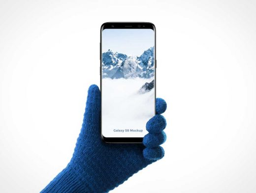 Samsung Galaxy S8 In Gloved Hand PSD Mockup