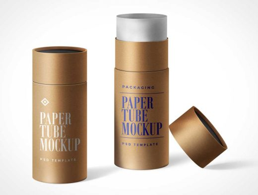 Shipping Tube Packaging For Paper Products PSD Mockup