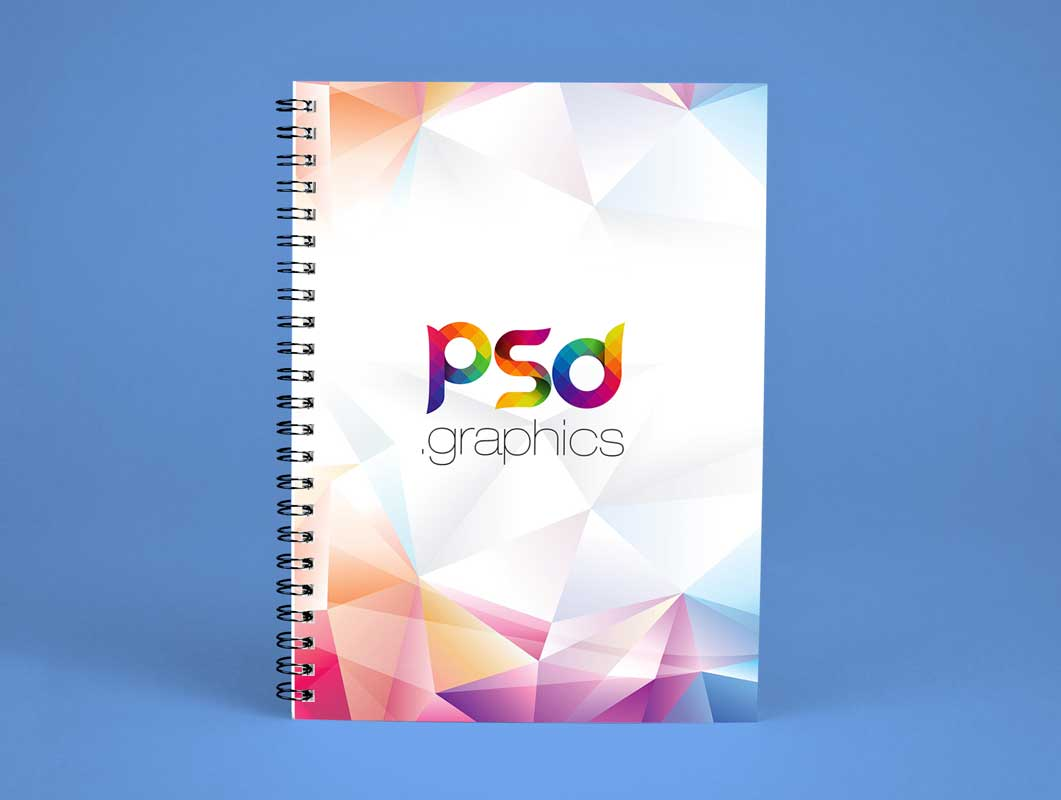 Spiral Notebook Standing Front Cover PSD Mockup