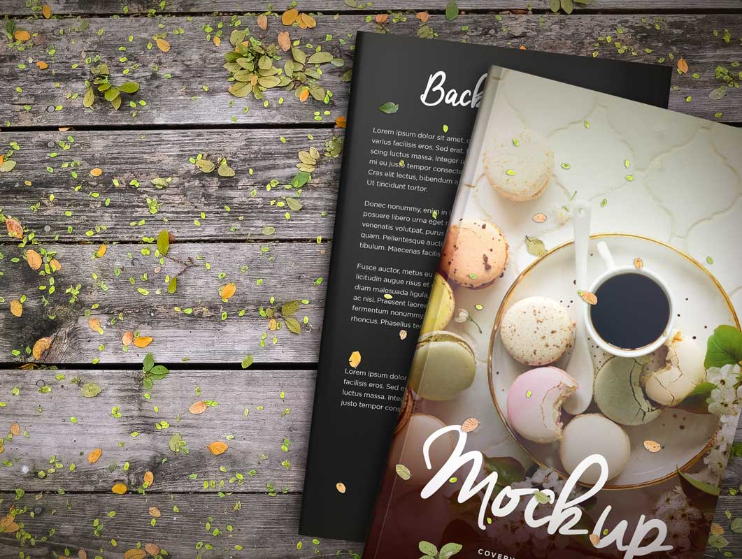 Stacked Hardcover Books Front & Back Covers PSD Mockup