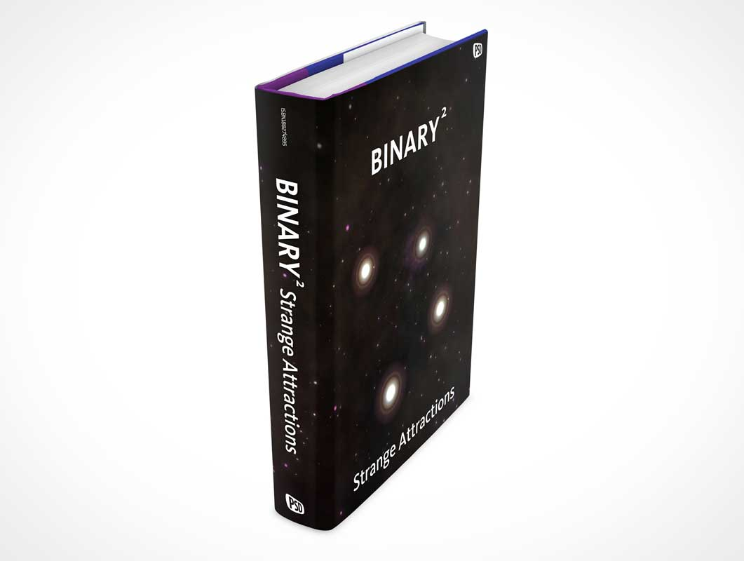 Standing Hardcover Book Spine Side View PSD Mockup